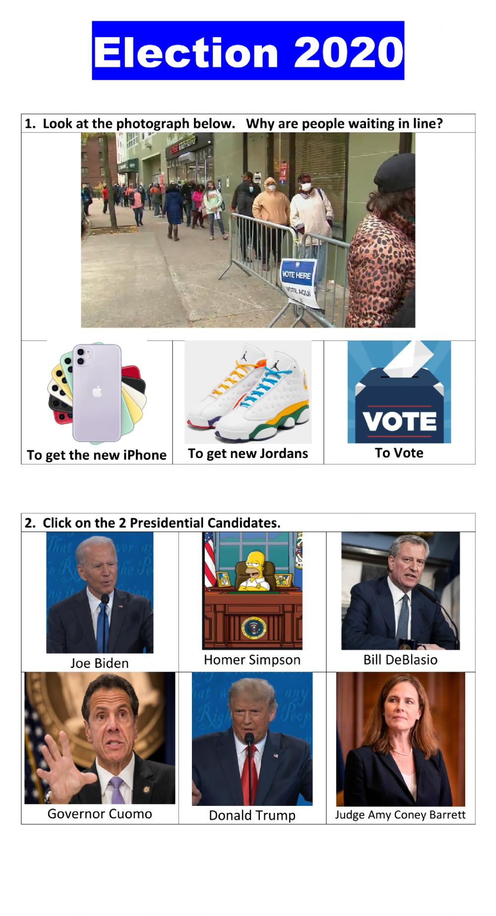 Election 2020 multiple choice worksheet