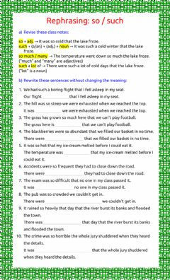 Interactive worksheet Rephrasing: so - such - 3