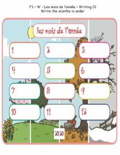 Ficha interactiva F1 - W - Les mois - Writing 01