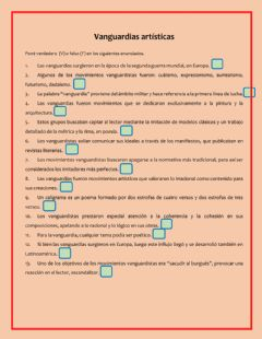 Interactive worksheet Vanguardias artísticas