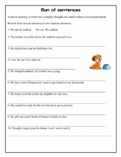 Interactive worksheet Run on sentences 2