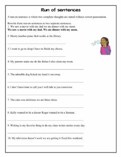Interactive worksheet Run on sentences 1