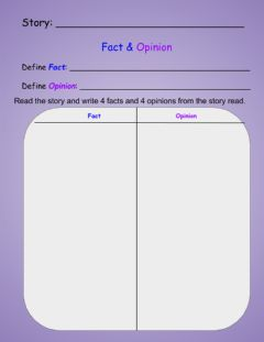 Interactive worksheet Fact & Opinion T Chart
