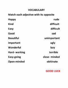 Interactive worksheet Vocabulary: opposites
