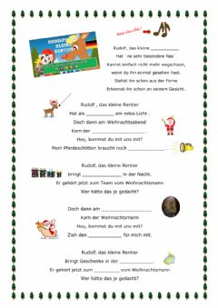 Interactive worksheet Rudolph das Rentier (Lied)