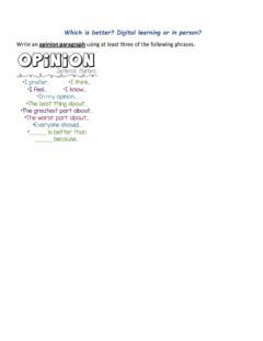 Ficha interactiva Opinion Writing: Digital or Online Learning?