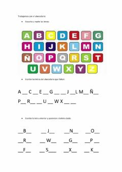 Interactive worksheet Abecedario