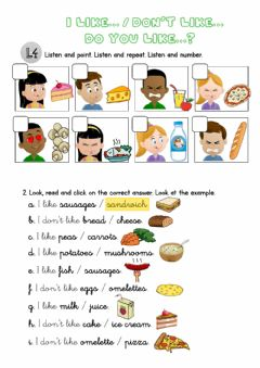 Interactive worksheet I like...- I don't like... - Do you like...?