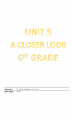 Ficha interactiva Unit 5: A Closer Look