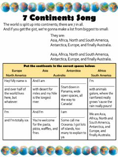 Interactive worksheet 7 Continents Song