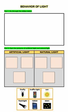Interactive worksheet Sources of Light