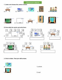 Ficha interactiva Classroom objects-3
