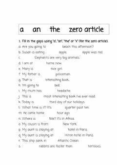 Interactive worksheet A an the zero article