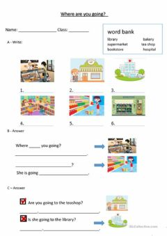 Interactive worksheet Where are you going