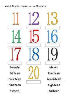Interactive worksheet Number Name (11-20)