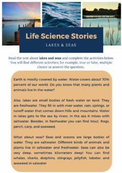 Ficha interactiva Life science - Seas and lakes
