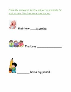 Interactive worksheet Parts of a Sentence