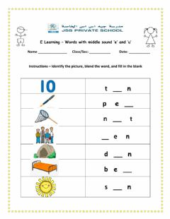 Ficha interactiva Words with middle sound 'e' and 'u'
