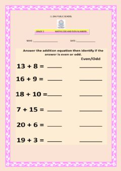Ficha interactiva Odd and even numbers