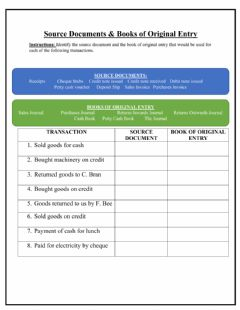 Interactive worksheet Source Documents and Books of Original Entry