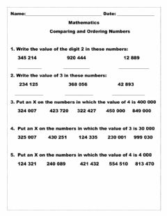 Interactive worksheet Comparing and Ordering Whole Numbers Worksheet