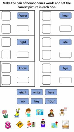 Interactive worksheet Homophones