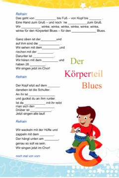 Interactive worksheet Körperteil Blues Songtext-Lückentext