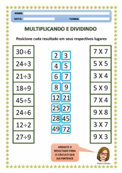 Interactive worksheet Multiplicando e Dividindo