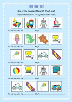 Interactive worksheet Toys Odd one out