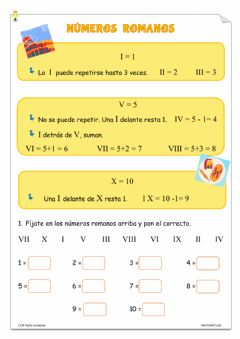 Interactive worksheet Números romanos 1