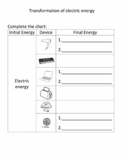 Interactive worksheet Transformation of electric energy