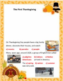 Interactive worksheet Thanksgiving