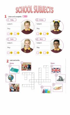 Interactive worksheet School subjects and Days of the Week