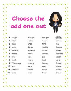Interactive worksheet The odd one out