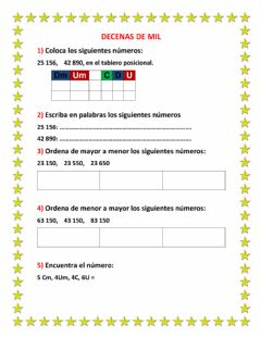 Interactive worksheet Decenas de mil