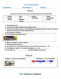 Interactive worksheet Balance and unbalance forces