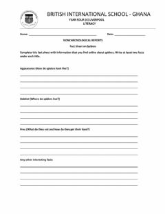 Interactive worksheet Fact Sheet Non-Chronological Reports