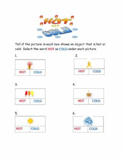 Interactive worksheet Hot or Cold