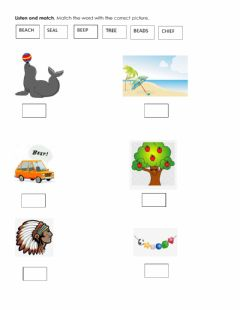Interactive worksheet Words with ee, ea and ie
