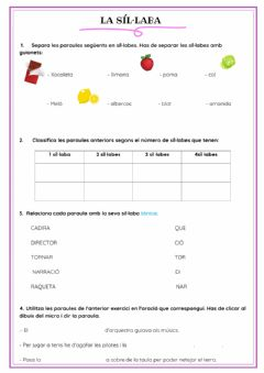 Interactive worksheet Sil·labes català