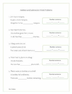 Interactive worksheet Word Problems - Add and Subtract