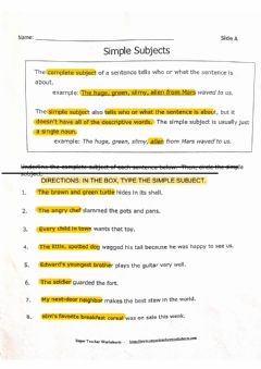 Interactive worksheet Simple Subjects LL
