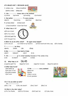 Interactive worksheet 6th Grade Unit 1 Revision Quiz
