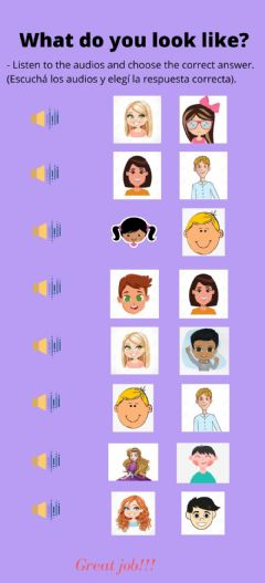 Interactive worksheet What do you look like?