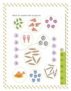 Ficha interactiva Numbers 1 to 9 MATCH THE NUMBER WITH PICTURES