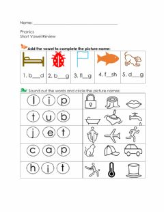 Interactive worksheet short vowel review