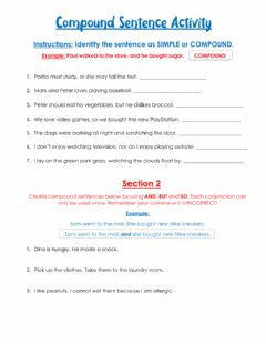 Interactive worksheet Compound Sentences Activity