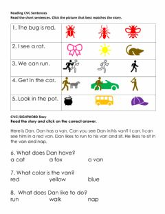 Interactive worksheet CVC-SIGHTWORD READING PRACTICE
