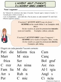 Interactive worksheet Tipus d'accents