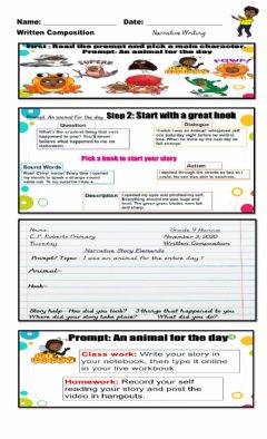 Interactive worksheet Narrative Writing: You are an animal for the Day